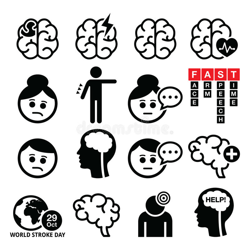 Iconos del movimiento del cerebro - lesión cerebral, concepto del daño cerebral libre illustration