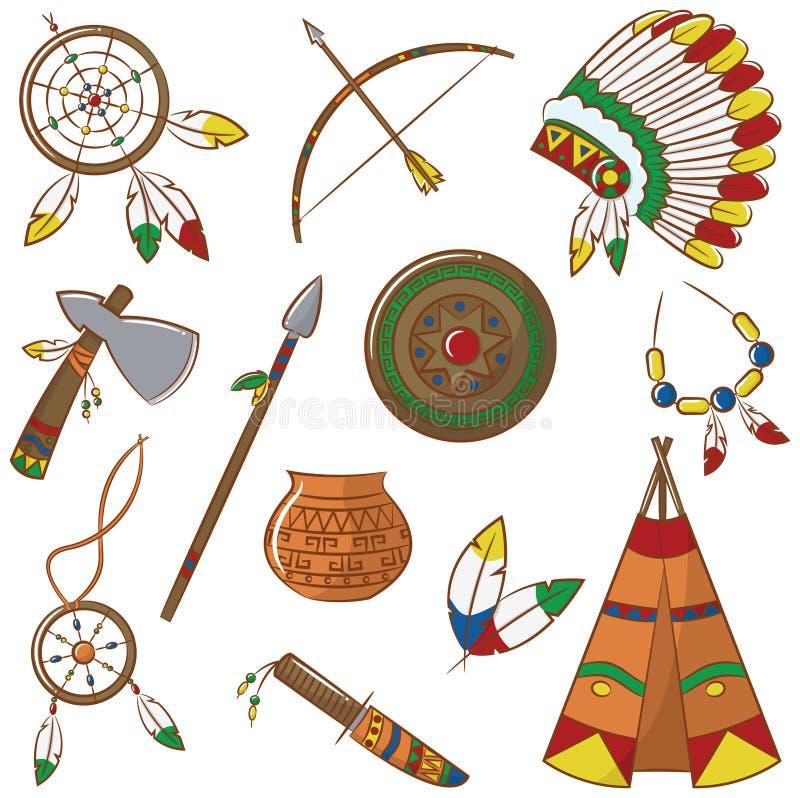 Iconos del nativo americano fijados libre illustration
