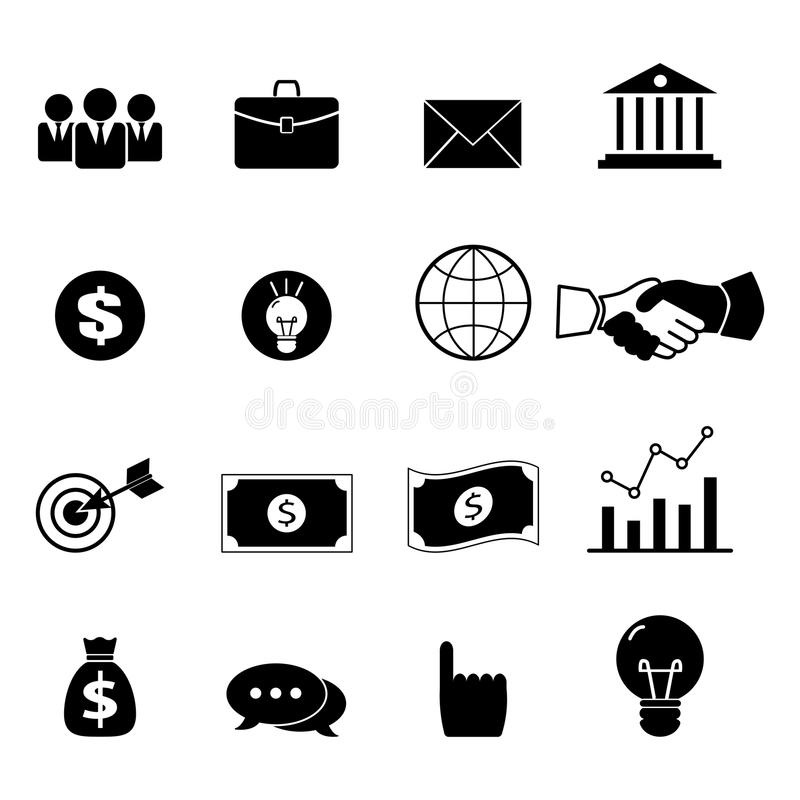Iconos del negocio, de la gestión y del recurso humano fijados stock de ilustración