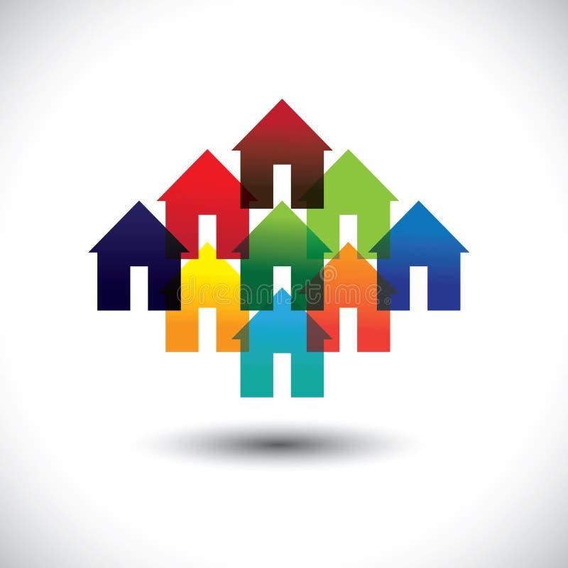 Iconos del negocio de las propiedades inmobiliarias del concepto de casas coloridas libre illustration