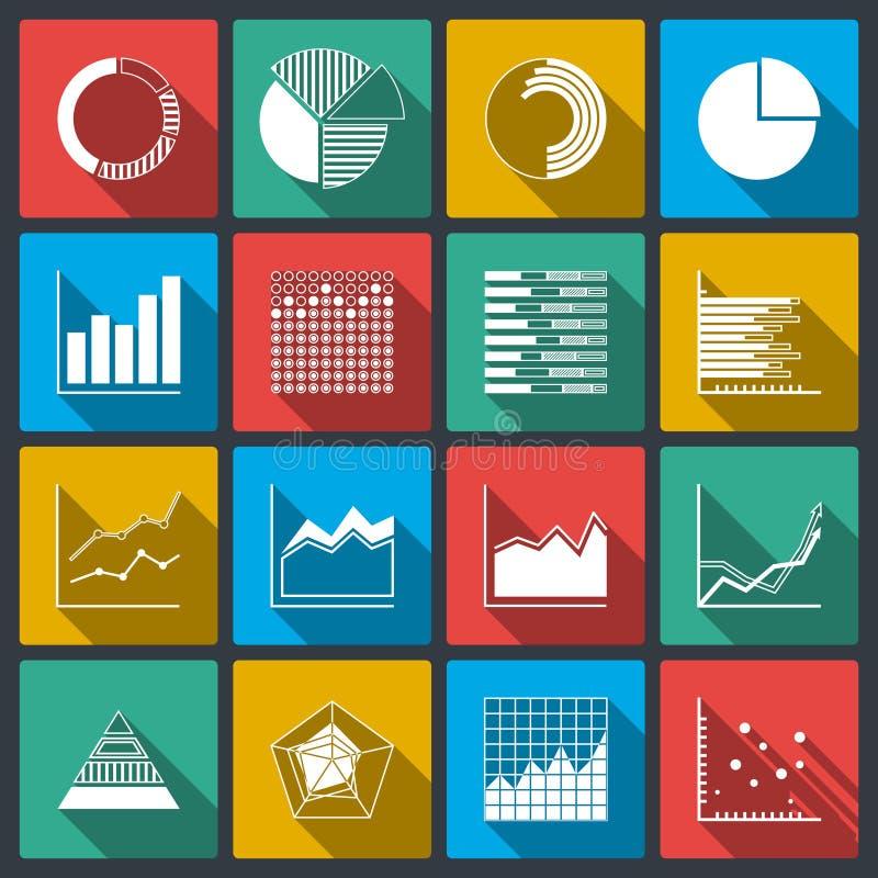 Iconos del negocio de los gráficos y de las cartas de los grados ilustración del vector