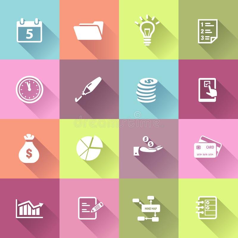 Iconos del negocio en estilo plano del diseño stock de ilustración