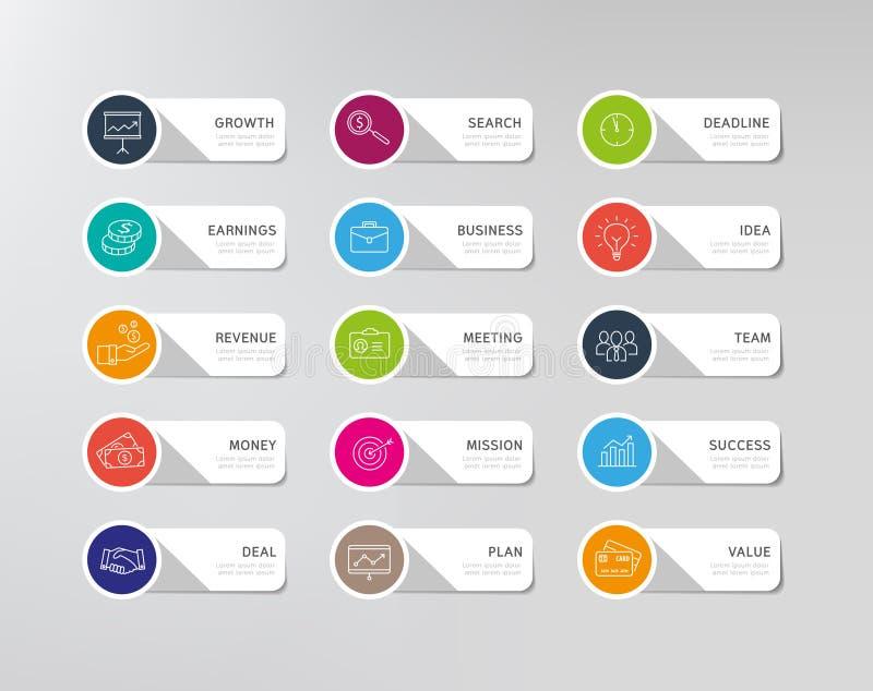 Iconos del negocio - etiquetas engomadas ilustración del vector