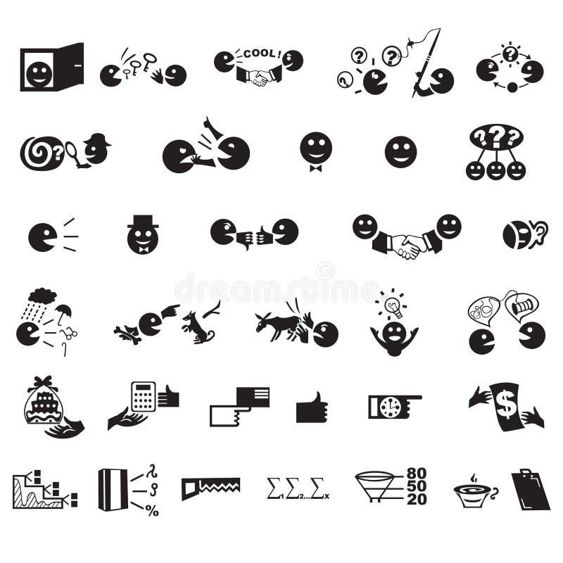 Iconos del negocio fijados en vector stock de ilustración