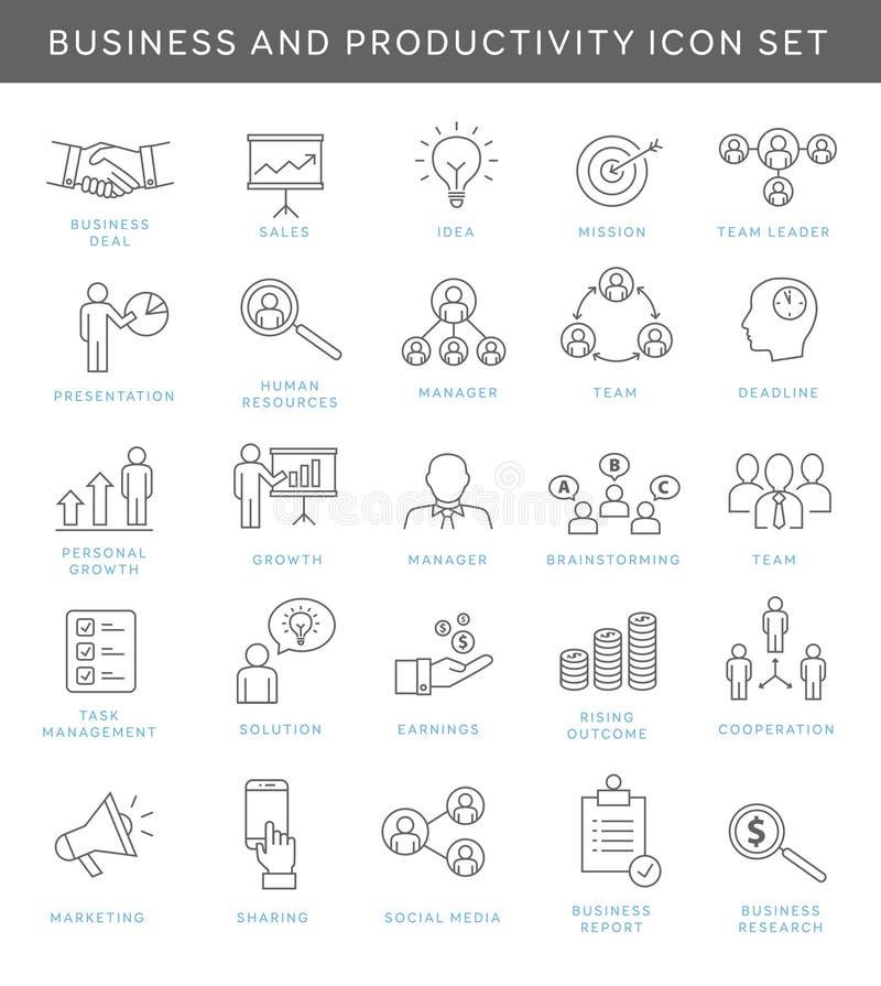 Iconos del negocio y de la productividad stock de ilustración