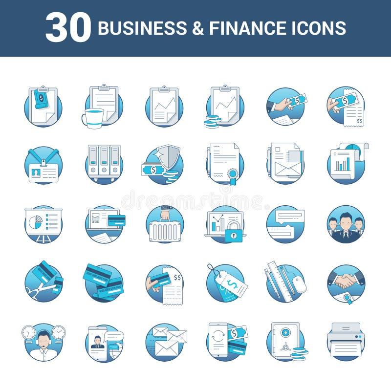 Iconos del negocio y de las finanzas en formato del vector stock de ilustración