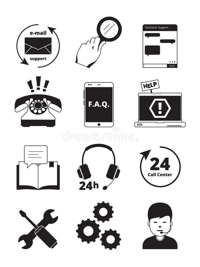 Iconos del negro del centro de servicio Vector de la gente de la ayuda del encargado del teléfono de las auriculares del admin de ilustración del vector