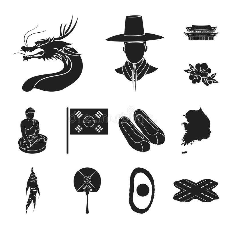 Iconos del negro de la Corea del Sur del país en la colección del sistema para el diseño El viaje y la atracción vector el ejempl ilustración del vector