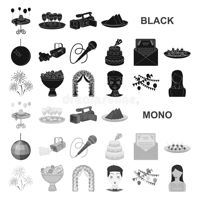 Iconos del negro de la organización del evento en la colección del sistema para el diseño Web de la acción del símbolo del vector libre illustration