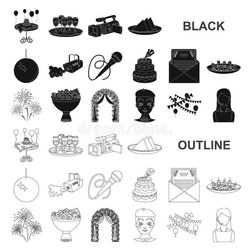 Iconos del negro de la organización del evento en la colección del sistema para el diseño Web de la acción del símbolo del vector stock de ilustración