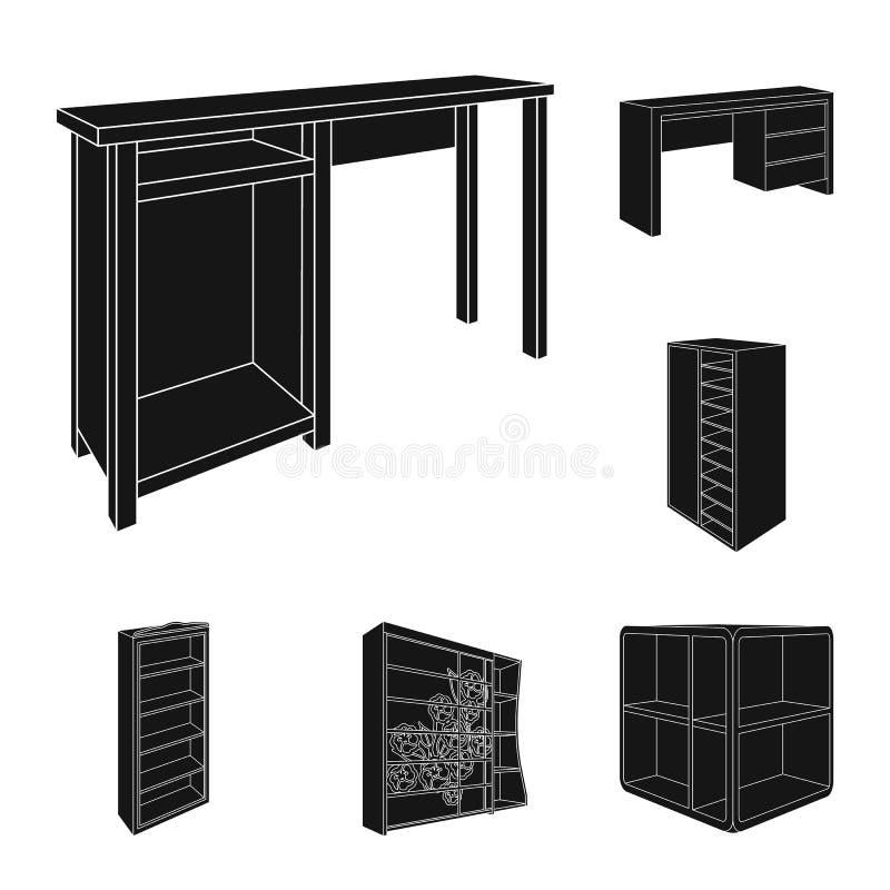 Iconos Del Negro De Los Muebles Del Dormitorio En La Colección Del ...