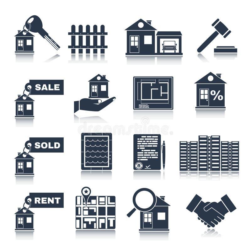 Iconos del negro de Real Estate libre illustration