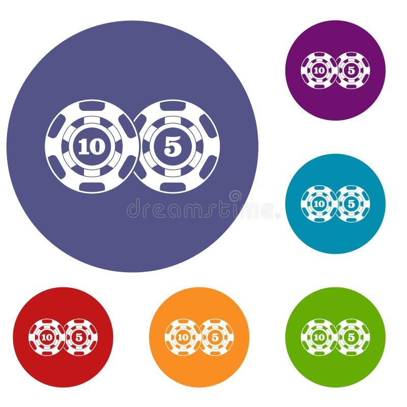 Iconos del nominal cinco y diez de las fichas de póker fijados stock de ilustración