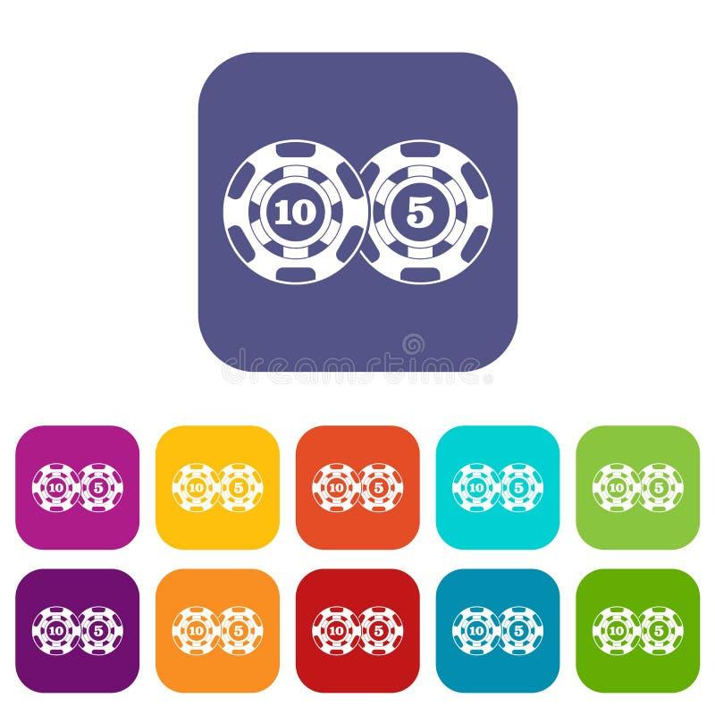 Iconos del nominal cinco y diez de las fichas de póker fijados libre illustration