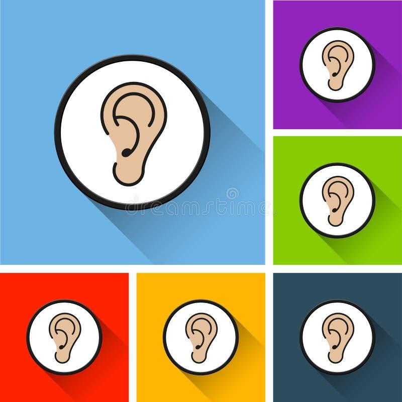 Iconos del oído con la sombra larga stock de ilustración