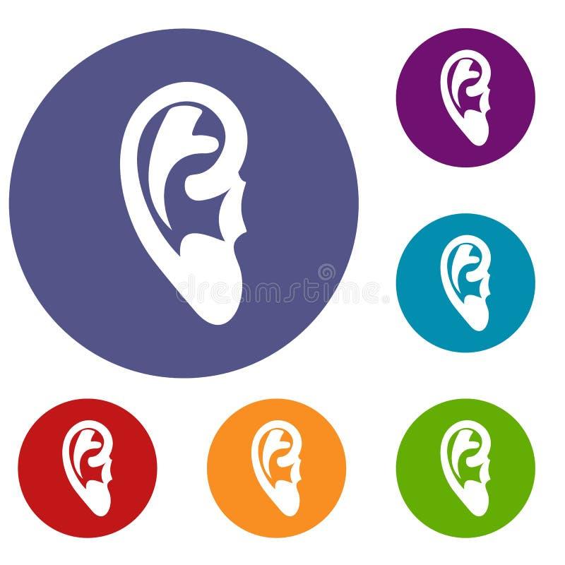Iconos del oído fijados stock de ilustración