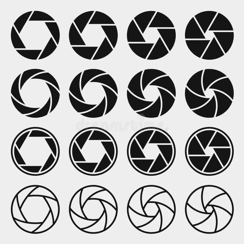 Iconos del obturador de cámara stock de ilustración