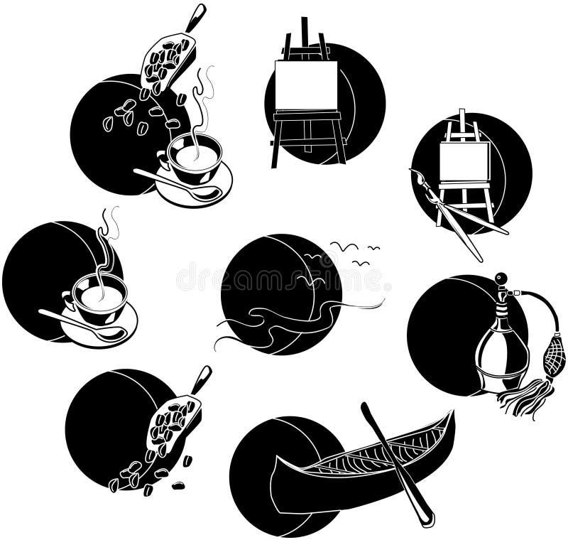 Iconos del ocio ilustración del vector