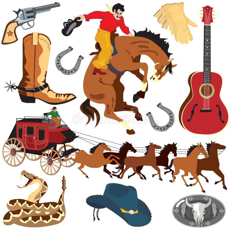Iconos del oeste salvajes de Clipart ilustración del vector