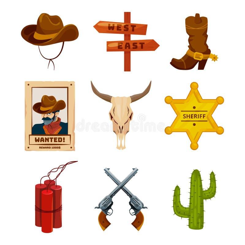Iconos del oeste salvajes de la colección Ejemplos occidentales en el estilo de la historieta Botas, armas, cactus y cráneo libre illustration