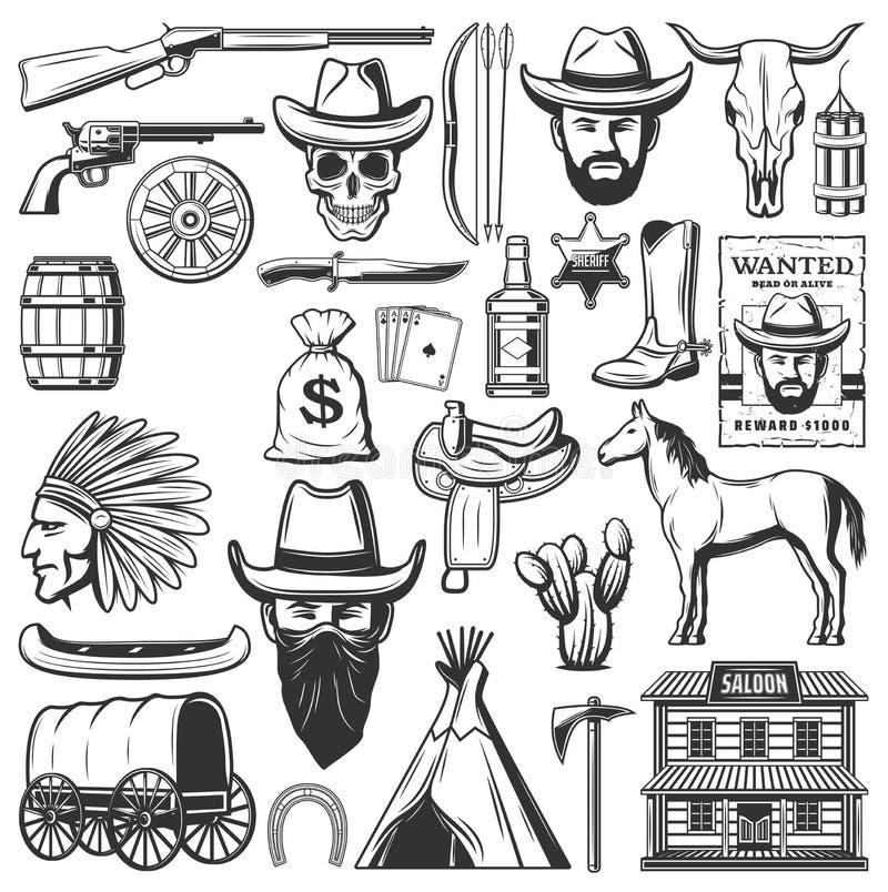 Iconos del oeste salvajes del vaquero, artículos occidentales americanos ilustración del vector