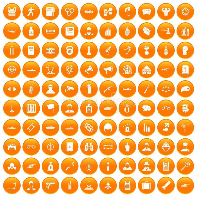 100 iconos del oficial fijados anaranjados stock de ilustración