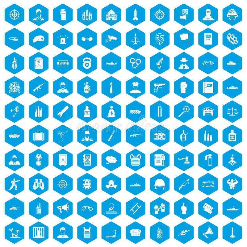 100 iconos del oficial fijados azules stock de ilustración