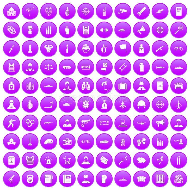 100 iconos del oficial fijados púrpuras ilustración del vector