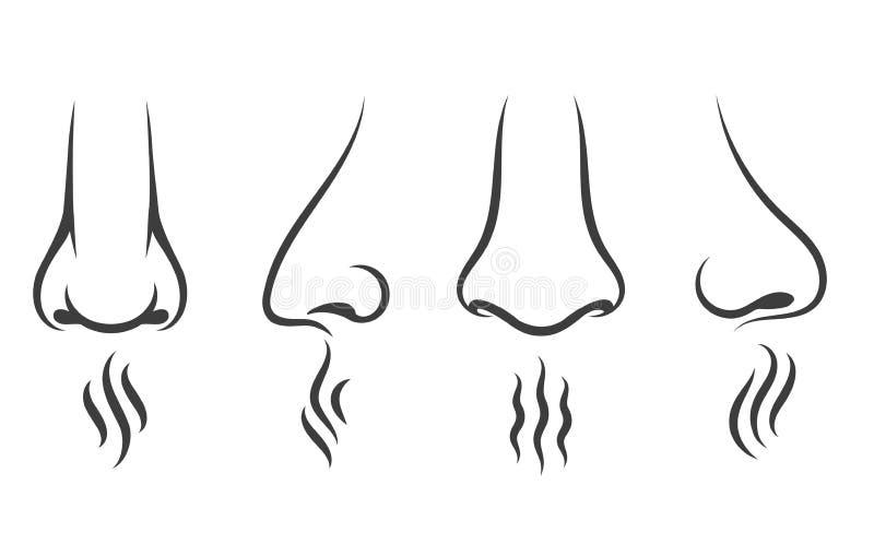 Iconos del olor de la nariz stock de ilustración