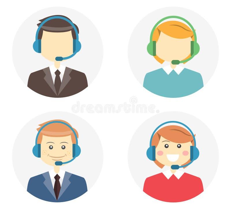 Iconos del operador de centro de atención telefónica stock de ilustración