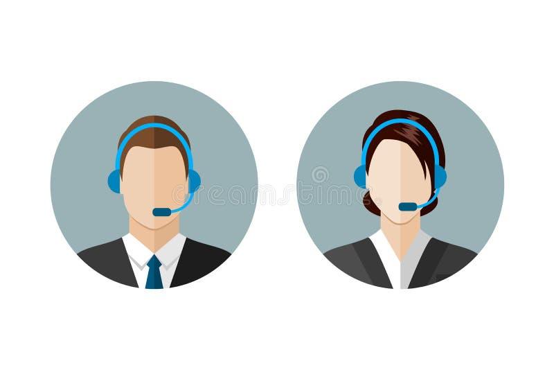 Iconos del operador de centro de atención telefónica ilustración del vector