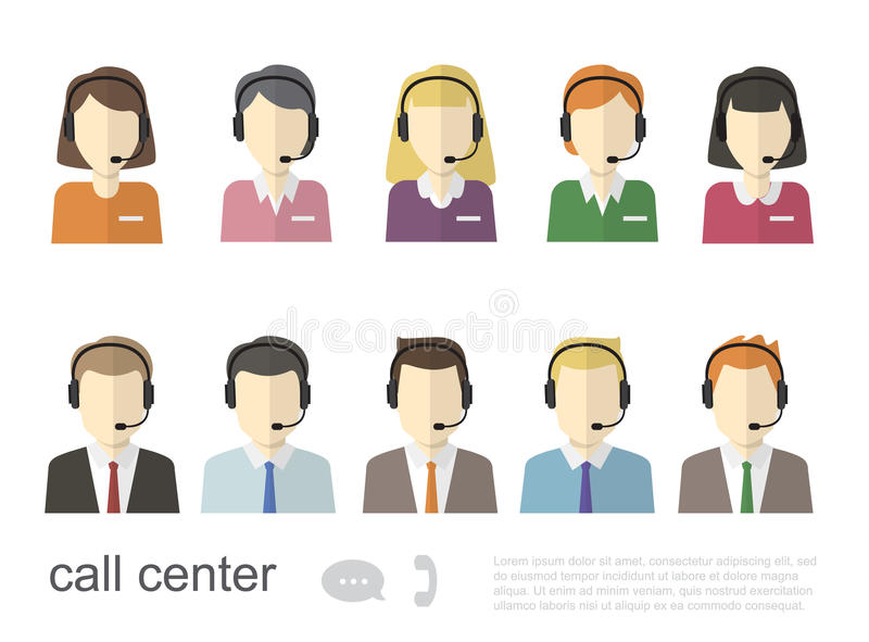Iconos del operador de centro de atención telefónica Ejemplo plano del vector libre illustration