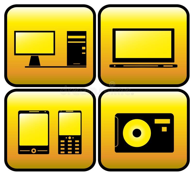 Iconos del ordenador, de la TV, de la foto y del smartphone libre illustration