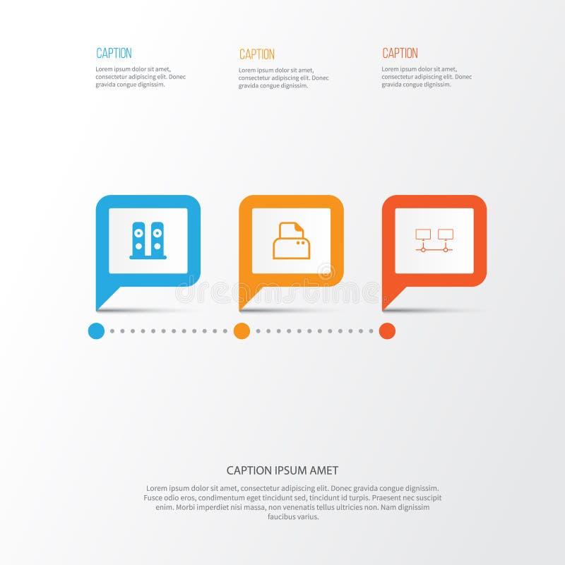 Iconos del ordenador fijados Colección de dispositivos conectados, de escáner del fichero, de altavoces y de otros elementos Tamb libre illustration