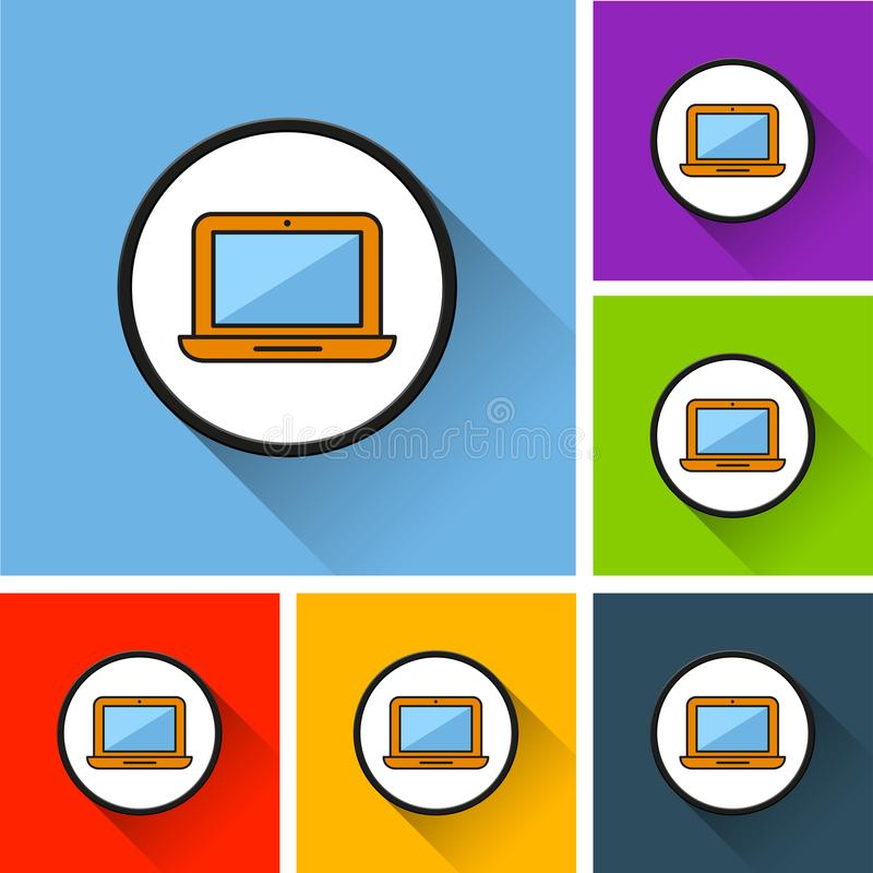 Iconos del ordenador portátil con la sombra larga stock de ilustración