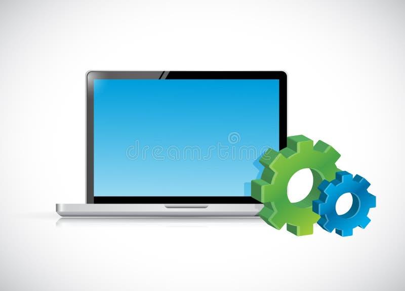 Iconos del ordenador portátil y del engranaje. ejemplo stock de ilustración