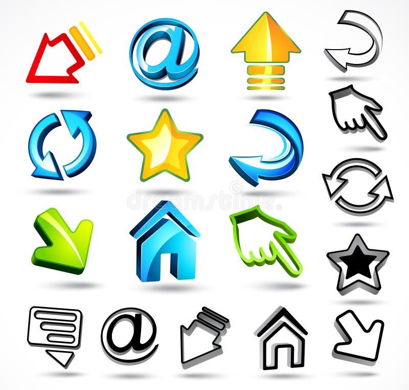 Iconos del ordenador y del Internet ilustración del vector