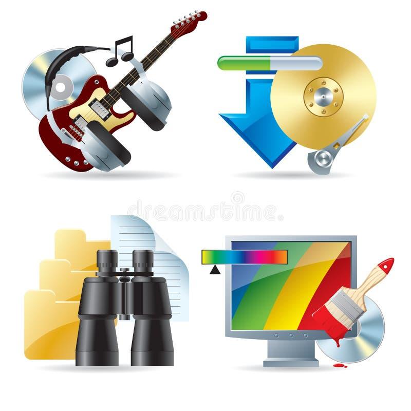 Iconos del ordenador y del Web III stock de ilustración