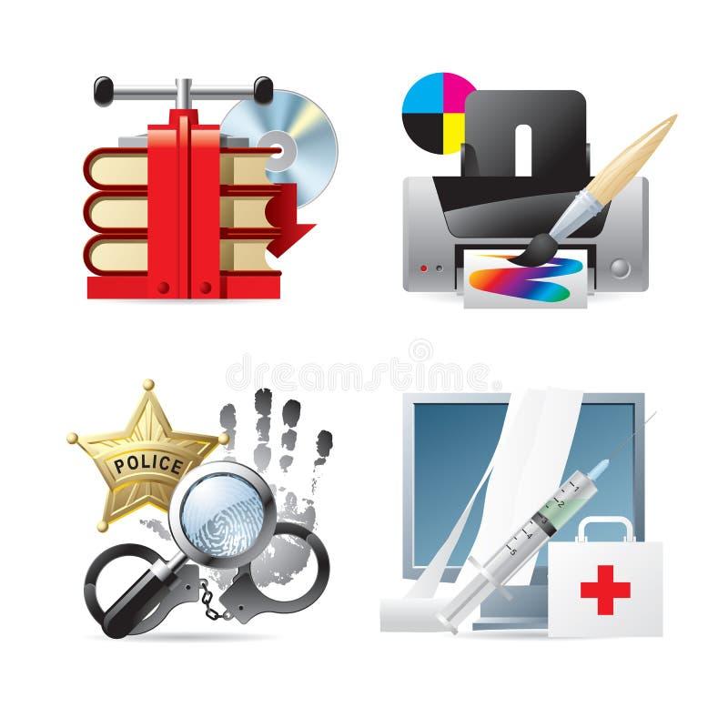 Iconos del ordenador y del Web V stock de ilustración