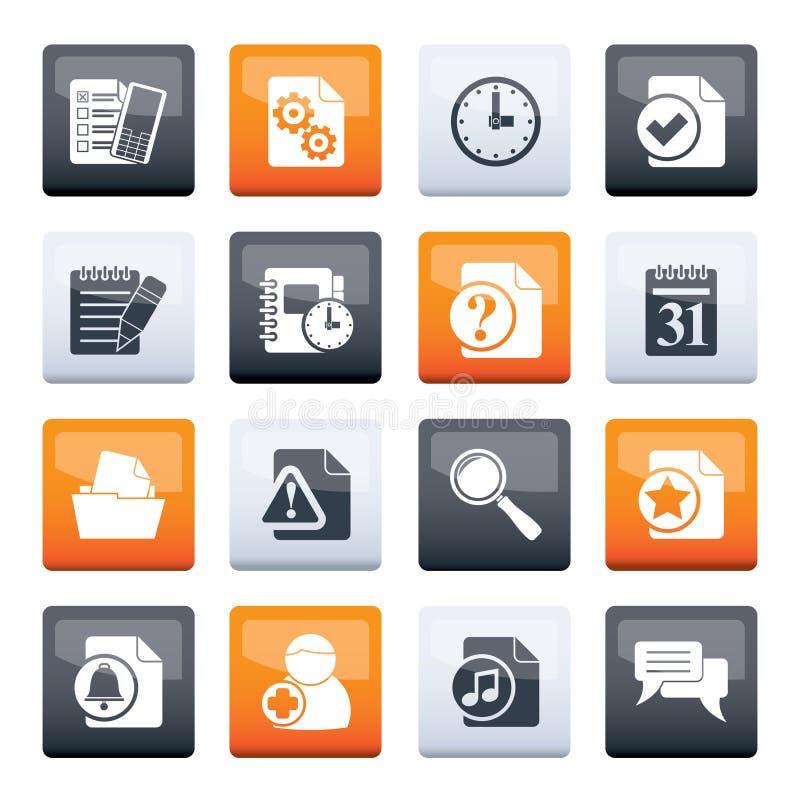 Iconos del organizador, de la comunicación y de la conexión sobre fondo del color stock de ilustración