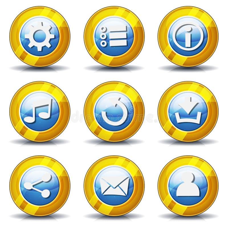 Iconos del oro para el juego de Ui stock de ilustración