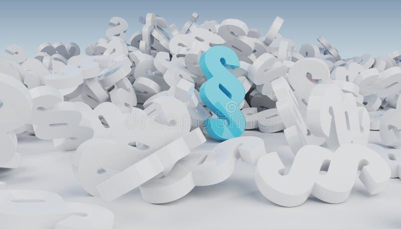 iconos del párrafo de la ley de la representación 3D que caen en el piso libre illustration