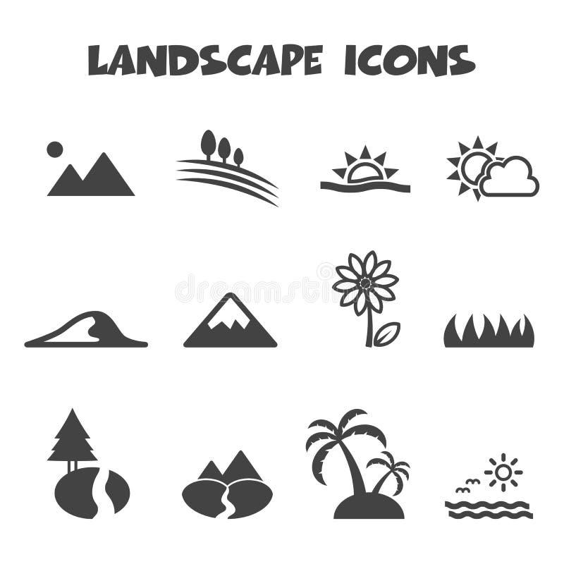 Iconos del paisaje stock de ilustración