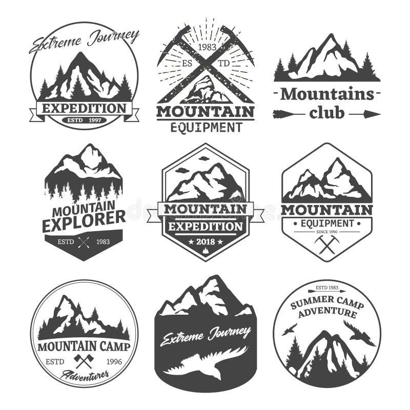 Iconos del paisaje de las insignias de las montañas o de las colinas stock de ilustración