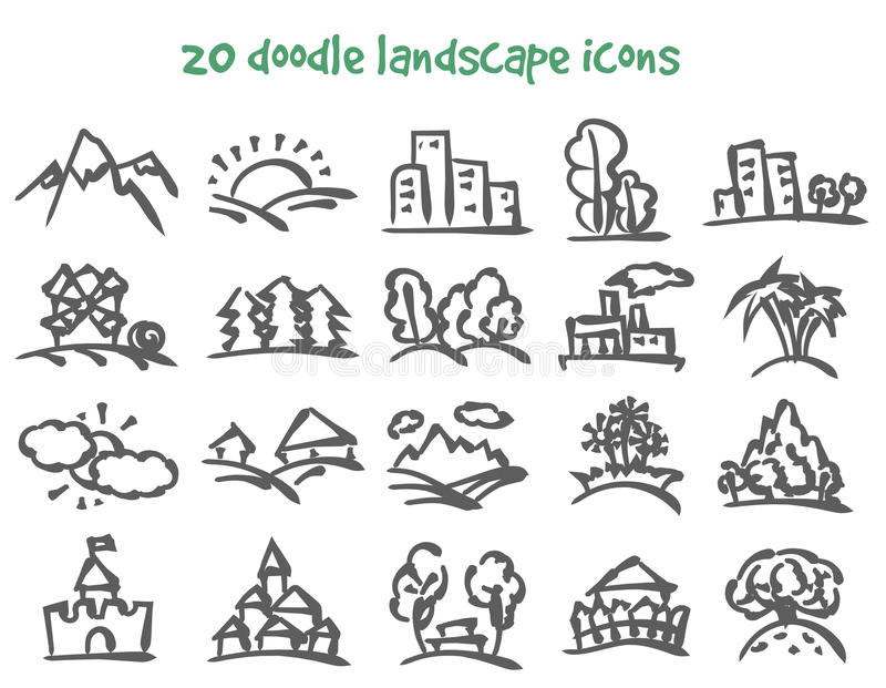 Iconos del paisaje del garabato ilustración del vector