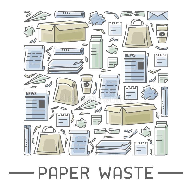 Iconos del papel usado fijados stock de ilustración