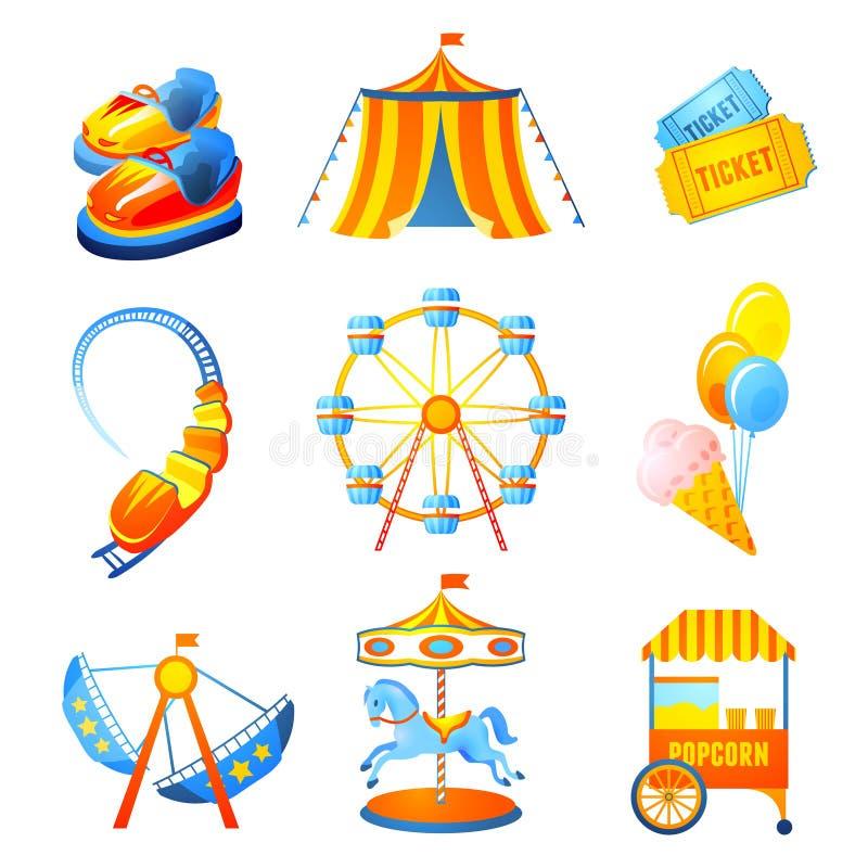 Iconos del parque de atracciones fijados libre illustration