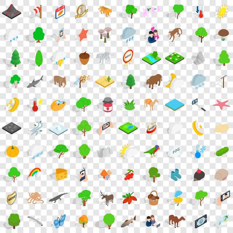 100 iconos del parque nacional fijaron, el estilo isométrico 3d ilustración del vector