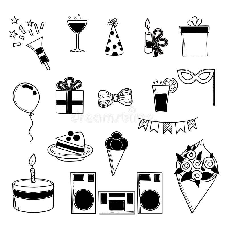 Iconos del partido Cumpleaños de los acontecimientos que celebra la colección del garabato del vector de las bebidas de las torta stock de ilustración
