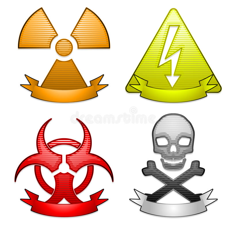 Iconos del peligro con las banderas stock de ilustración